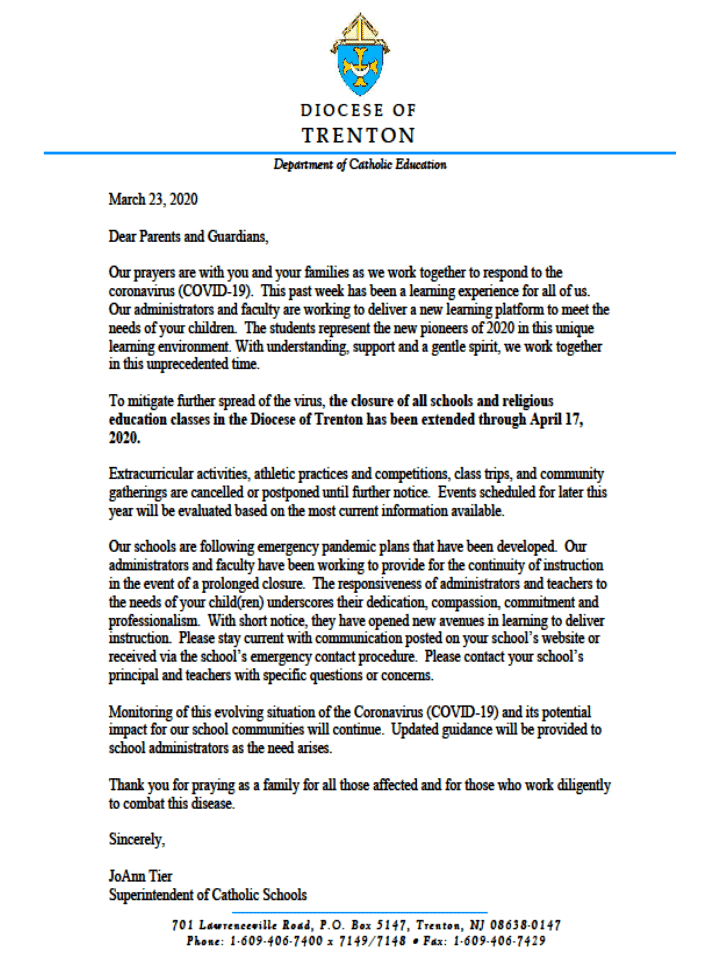 Corona letter to parents and guardians 3-23-20