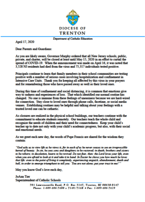 Corona letter to parents and guardians 4-17-20