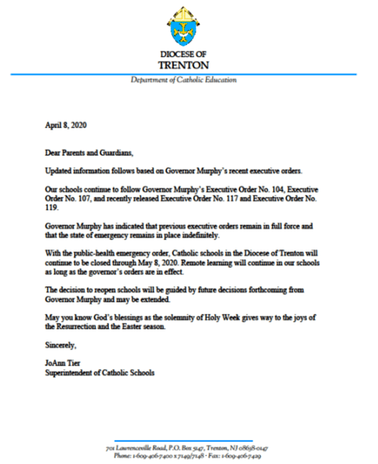Corona letter to parents and guardians 4-8-20