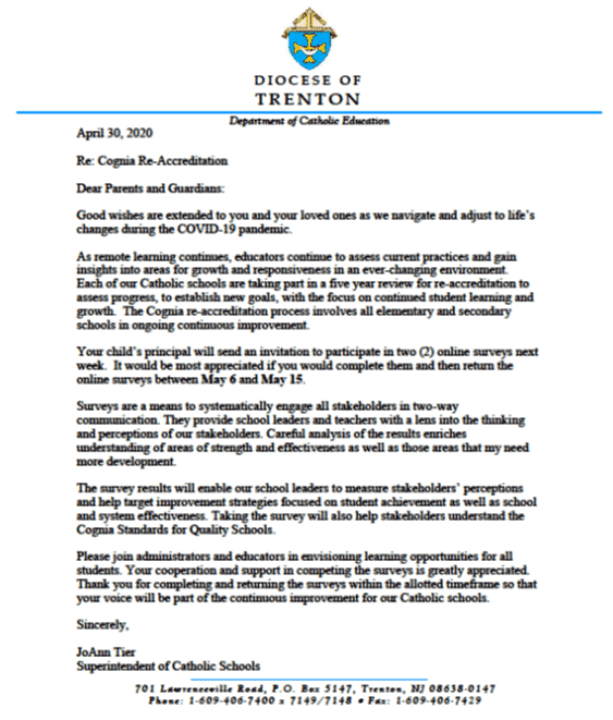 April 30, 2020 – re-accreditation letter to parents