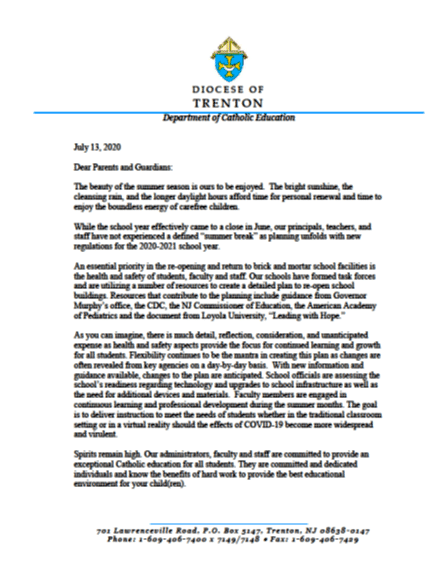 July 13, 2020 Diocesan Letter to parents and guardians7-13-20